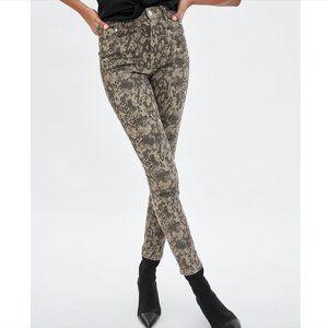 Zara Snake Python Print High Rise Skinny Jeans